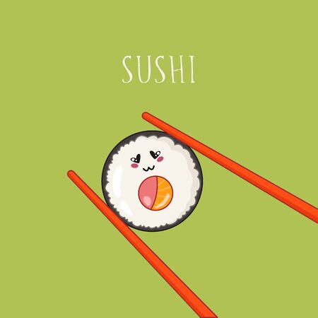 Kawaii sushi, roll and chopsticks - banner traditional Japanese or Asian cuisine and food, illustration for social networks for restaurant, bar, cartoon emoji, manga style.
