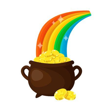 Saint Patricks Day cartoon leprechauns magic pot of gold coins and rainbow, cute folk holiday symbol, isolated vector icon on white Illustration