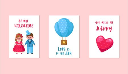 Valentine Day cards - cartoon kawaii girl and boy in retro clothes, balloon, pink heart, lovely phrases, cute flat holiday characters and romantic decorations, vector illustration for postcard, poster