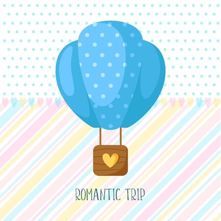 Valentine Day card - cartoon blue hot air balloon, lovely phrase and text, cute flat cartoon holiday decor and romantic background, illustration for postcard, poster, clothes print Çizim