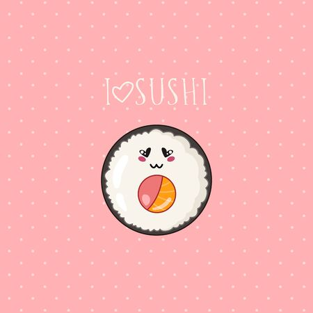Kawaii sushi, roll banner on colored background, traditional Japanese or Asian cuisine and food, illustration for social networks for restaurant, bar, cartoon emoji, manga style Vettoriali