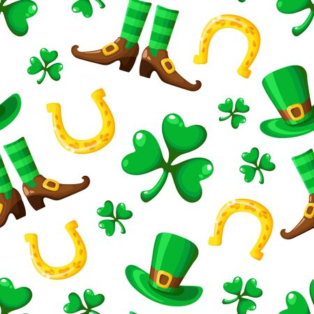 Saint Patrick day seamless pattern - shamrock or clover and green bowler hat, boots, stocking, golden horseshoe for luck, traditional holiday vector background for wrapping, textile, digital paper