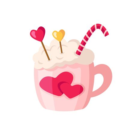 Valentine Day hot drink in cup, cute cartoon pink mug with beverage - coffee or cocoa and sweet candy cane, romantic cozy mood, isolated objects on white, illustration for card, print - vector