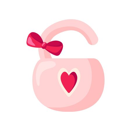 Valentine Day card, cartoon pink lock with bow on white, cute romantic holiday decor, symbol of eternal love - isolated cartoon object, illustration for postcard, print - vector
