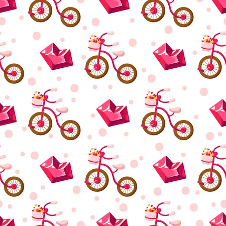 Valentine Day seamless pattern - cartoon pink bicycle with basket filled with small hearts, crystal glass heart, holiday romantic mood, vector background, texture for wrapping, textile, fabric print