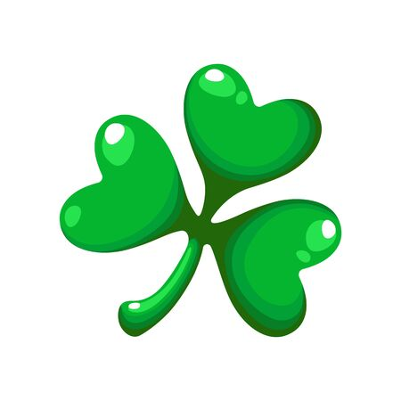 Saint Patricks Day cartoon shamrock, clover green leaf, traditional holiday symbol of luck, vector cartoon icon or sign isolated on white background Stock Illustratie