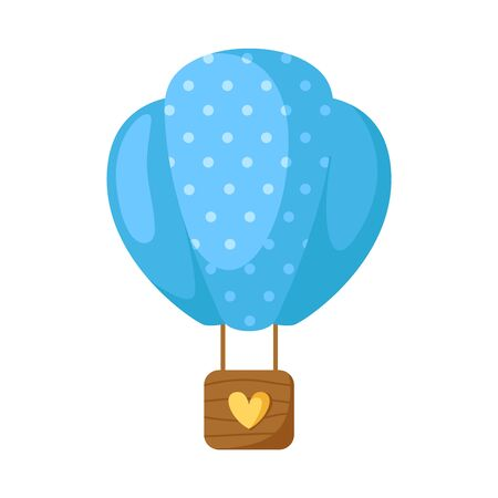 Blue hot air balloon for Valentine Day cartoon card - cute flat romantic stuff, holiday decorations in blue colors, isolated cartoon object on white, kids illustration for card, print