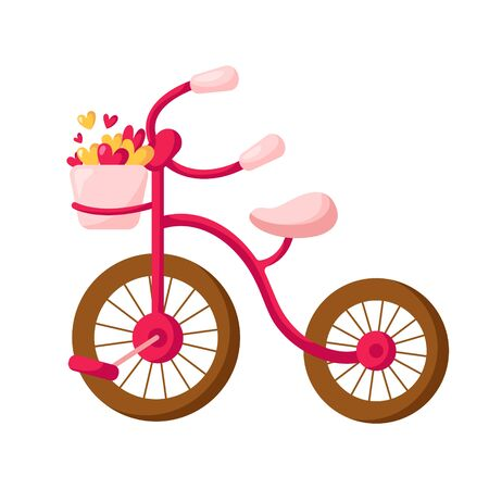 Valentine Day card - pink bicycle with basket filled with small hearts, funny transport for romantic walk, festive mood, isolated cartoon object on white, illustration for postcard, print