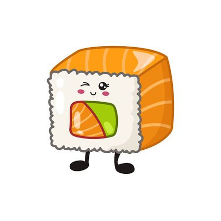 Kawaii sushi, rolls, sashimi - isolated single icon on white background, traditional Japanese or Asian cuisine and food, decoration for social networks of a restaurant or bar, cute cartoon emoji, manga style