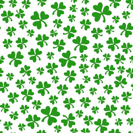 Saint Patrick day seamless pattern - shamrock or clover leaves, abstract floral ornament, simple shapes traditional holiday vector background for wrapping, textile, digital paper Stock Illustratie