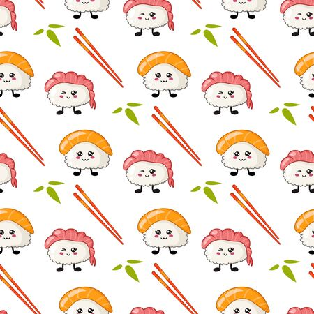 Kawaii sushi, rolls, chopsticks, bamboo leaves - seamless pattern or background, cartoon emoji, manga style, traditional Japanese or Asian cuisine and food isolated on white Stock Illustratie
