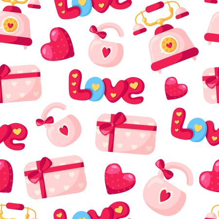 Valentine Day seamless pattern - cartoon pink lock with bow, gift box, lettering love, retro phone, heart, holiday romantic mood, vector background, texture for wrapping, textile, fabric print
