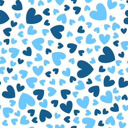 Valentine Day abstract seamless pattern - cartoon blue hearts on white, rhythmic geometric shapes, vector romantic background, endless texture for wrapping, textile, scrapbook Stock Illustratie