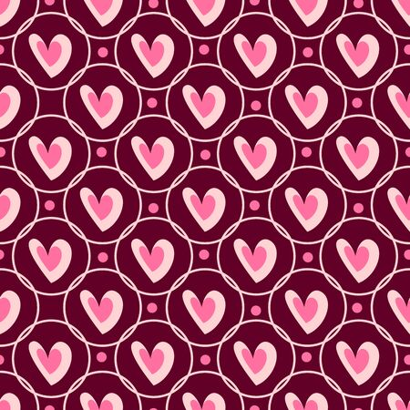 Valentine Day abstract seamless pattern - cartoon red and pink hearts, circles, rhythmic geometric shapes, vector romantic background, endless texture for wrapping, textile, scrapbook