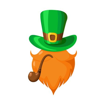 Saint Patricks Day cartoon bowler hat, boots and long green striped ctockings, traditional symbols and decorations of folk holiday, vector isolated icon on white