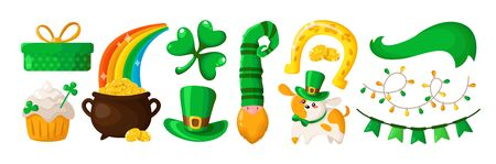 Saint Patricks Day cartoon shamrock, cute puppy, dwarf or leprechaun in green hat, decorative garland, flags, ribbon, gift box and golden coins pot, sweet holiday cake, vector set isolated on white Stock Illustratie