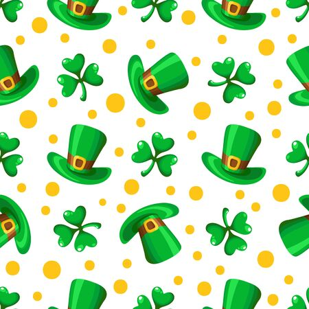 Saint Patrick day seamless pattern - shamrock or clover leaves and green bowler hat, polka dot ornament, simple traditional holiday vector background for wrapping, textile, digital paper