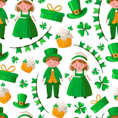 Saint Patrick day seamless pattern - kawaii cartoon boy and girl in retro dresses, shamrock, flags, garland, sweet cake, gift box - holiday vector background for wrapping, textile, digital paper Stock Illustratie