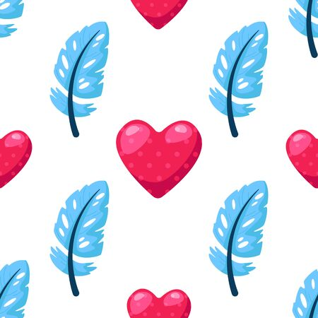 Valentine Day seamless pattern - cartoon blue feathers and pink hearts on white, gentle lovely holiday ornament or decor - vector romantic background, endlessetexture for wrapping, textile, print