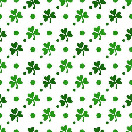 Saint Patrick day seamless pattern - shamrock or clover leaves, abstract ornament, simple shapes and polka dot traditional holiday vector background for wrapping, textile, digital paper Stock Illustratie