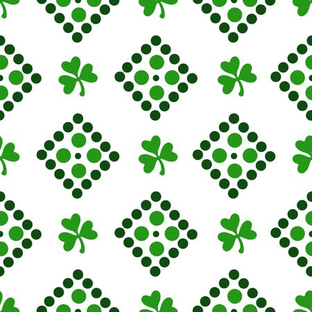 Saint Patrick day seamless pattern - shamrock or clover leaves, abstract ornament with dots and geometric shapes, simple traditional holiday vector background for wrapping, textile, digital paper Stock Illustratie
