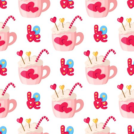 Valentine Day seamless pattern - cartoon hot beverage mug or cup - coffee, cocoa, lettering word love, little hearts, holiday romantic mood - vector background, texture for wrapping, textile