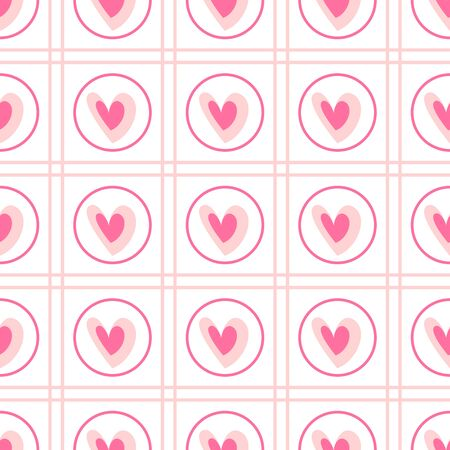 Valentine Day abstract seamless pattern - cartoon red and pink hearts, rhombus on white, geometric shapes, vector romantic background, endless texture for wrapping, textile, scrapbook