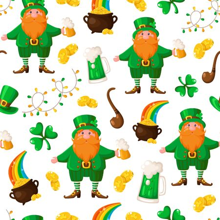 Saint Patrick day seamless pattern - cartoon leprechaun with red beard and beer cup, shamrock, garland, golden coins pot, smoking pipe - holiday vector background for wrapping, textile, digital paper Stock Illustratie