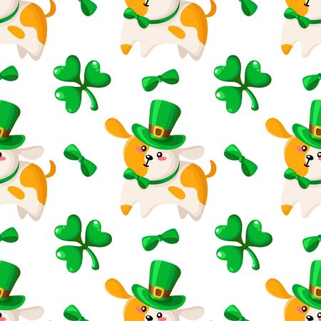 Saint Patrick day seamless pattern - dog or puppy in bowler hat and bow, shamrock or clover green leaf, kawaii cartoon style - cute holiday vector background for wrapping, textile, digital paper Stock Illustratie