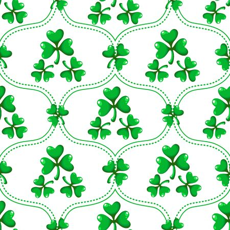 Saint Patrick day seamless pattern set - damask ornament with shamrock or clover leaves, abstract endless texture, simple traditional holiday vector background for wrapping, textile, digital paper