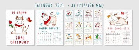 White ox calendar or planner A4 format for 2021 with kawaii cartoon ox, bull or cow, symbol of new year, cute characters - Cover and 12 monthly pages. Week starts on Monday, vector editable template 일러스트