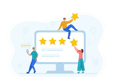 Client feedback or review concept and online service evaluation, happy customers. flat modern tiny people and huge computer monitor with rank and rating scale stars, men and women characters