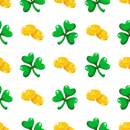 Saint Patrick day seamless pattern - shamrock or clover leaves and gold coins, abstract ornament, simple shapes traditional holiday vector background for wrapping, textile, digital paper