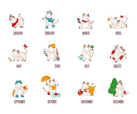 White cartoon ox, bull or cow - set of 12 kawaii characters isolated on white for calendar print, symbol of 2021 year, collection of cute farm animals witn different atributions - vector illustration