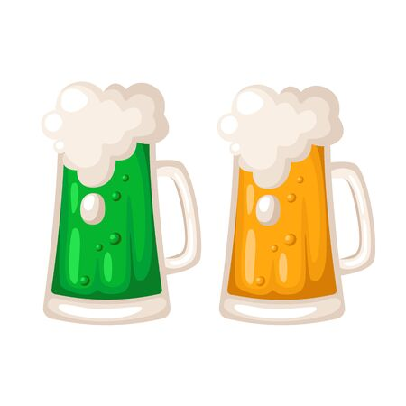 Saint Patricks Day cartoon beer or ale, cup or mug with alcohol drink, holiday beverage in big glass, irish pub or bar menu, vector isolated on white, separated items Stock Illustratie