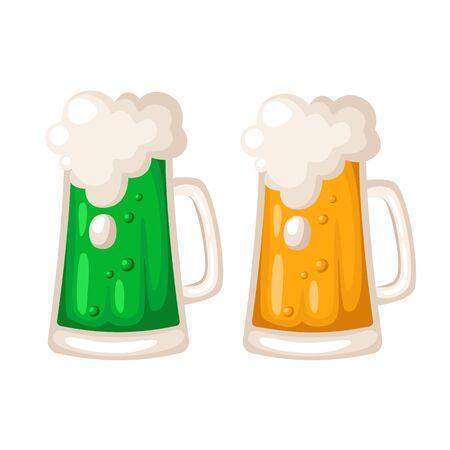 Saint Patricks Day cartoon bier of ale, beker of mok met alcohol drinken, vakantie drank in groot glas, Ierse pub of bar menu, vector geïsoleerd op wit, gescheiden items Vector Illustratie