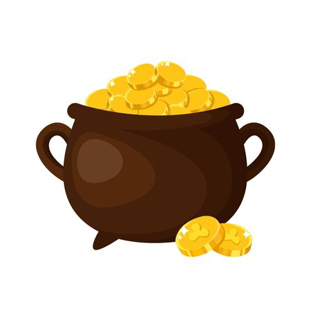 Saint Patricks Day cartoon pot or cauldron with gold coins, cute symbol of luck, money and wealth, magic secret leprechauns treasure, folk traditional holiday, vector isolated icon on white
