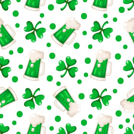 Saint Patrick day seamless pattern - shamrock or clover leaves and green beer or ale cup, polka dot ornament, traditional holiday vector background for wrapping, textile, digital paper
