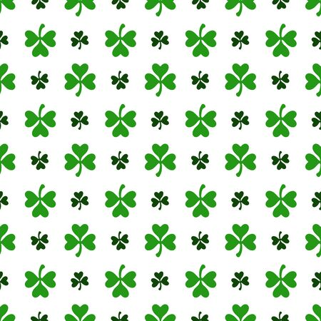 Saint Patrick day seamless pattern - shamrock or clover leaves, abstract floral ornament, simple shapes traditional holiday vector background for wrapping, textile, digital paper Ilustracja