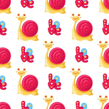Valentine Day seamless pattern - cartoon kawaii snail, cute letters and word love, happy lovely character - vector romantic background, endless texture for wrapping, textile, rhythmic ornament Stock Illustratie