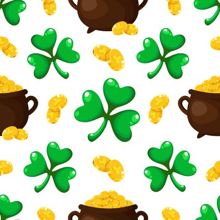 Saint Patrick day seamless pattern - shamrock or clover leaves and gold coins, secret treasure of leprechauns, traditional holiday cartoon vector background for wrapping, textile, digital paper Stock Illustratie