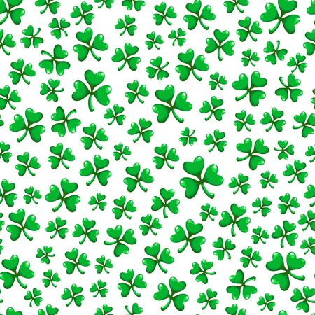 Saint Patrick day seamless pattern set - shamrock or clover leaves, abstract floral ornament, simple shapes and polka dot traditional holiday vector background for wrapping, textile, digital paper Stock Illustratie