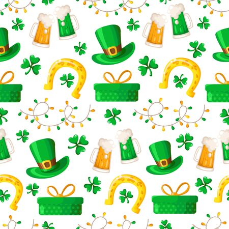Saint Patrick day seamless pattern - cartoon shamrock or clover, lights garland, gift box, beer cup, bowler hat and golden horseshoe - holiday vector background for wrapping, textile, digital paper Stock Illustratie