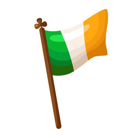 Saint Patricks Day cartoon ireland flag, traditional backward symbol, folk holiday with festive decorations and attribution, vector set isolated icon on white Stock Illustratie