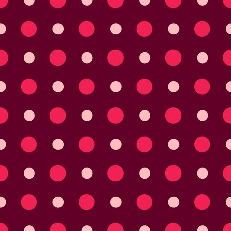 Valentine Day abstract seamless pattern - red and pink polka dot ornament, geometric shapes, vector romantic background, endless texture for wrapping, textile, scrapbook Stock Illustratie