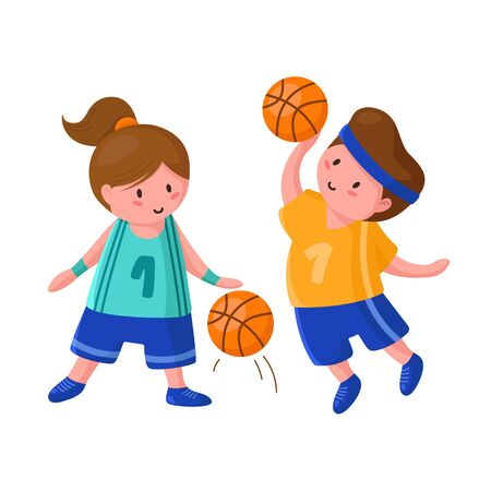 Basketball players with ball - cute cartoon boy and girl isolated on white, people doing sport, guy jumps and throws the ball at goal, two children or kids train in basketball studio - vector concept