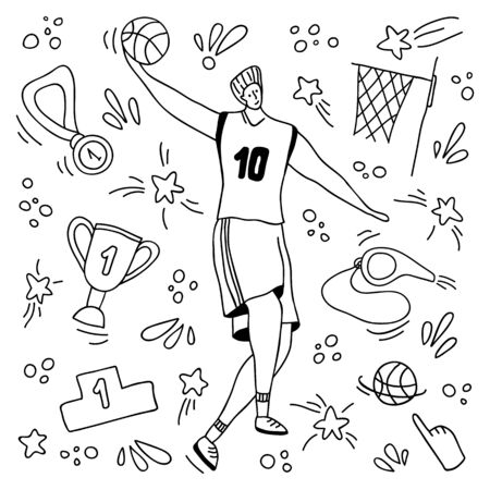 Basketball player with ball, medal, whistle, basket and goblet, doodle man and sport equipment - isolated on white, guy jumps and throws the ball at goal, hand drawn outline style - vector concept Stock Illustratie