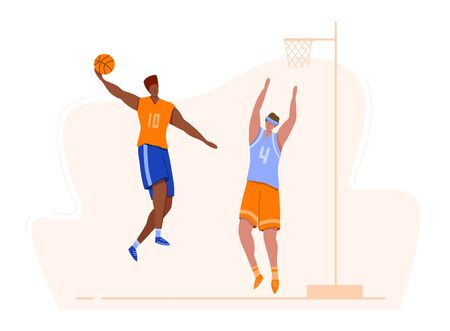 Basketball players with ball on playground, people playing match, african american guy jumps and throws the ball at goal, two muscular men train in basketball, flat hand drawn style - vector concept Stock Illustratie