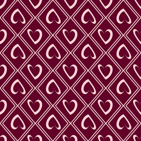 Valentine Day abstract seamless pattern - cartoon red and pink hearts, geometric shapes, vector romantic background, endless texture for wrapping, textile, scrapbook
