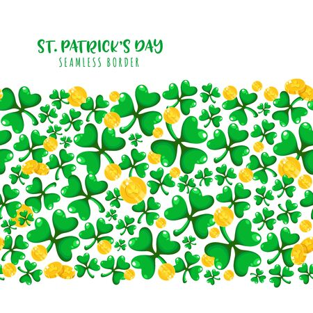 Saint Patricks Day seamless border frame - cartoon shamrcock or clover leaves and golden coins, border pattern on white background, traditional folk holiday symbols or festive decorations, vector